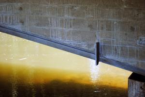 Im eingebauten Zustand ist nur noch der Flansch des feuerverzinkten mit Verbunddübeln versehenen Walzträgers zu sehen.<br />