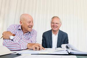 """<div class=""""bildtext"""">Sir Norman Foster reiste nach Brixen, um zusammen mit dem gleichaltrigen Seniorchef Franz Reifer (r.) gemeinsame Projekte zu besprechen.</div>"""