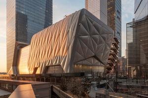 """Die Gebäudehülle von Manhattans neuem Kunst- und Kulturzentrum """"The Shed"""" besteht aus 148 mit Luft gefüllten ETFE-Folienkissen und einem innenliegenden Stahltragwerk.<br />"""