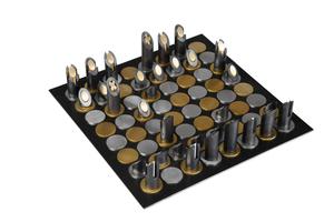 Schachspiel in Gold und Silber vom 2. Bundessieger Metallgestaltung: Sascha Kusenberg.<br />