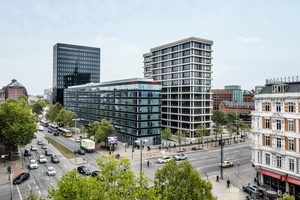 """Ansicht des Ensembles """"Hamburg Heights"""" aus Richtung Nordwesten.<br />"""
