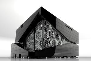 """<div class=""""bildtext"""">Im Rendering erscheint die abgedunkelte Fassade wie eine Art Rahmen für die großflächige Glasfassade an der Süd-West-Ecke.</div>"""
