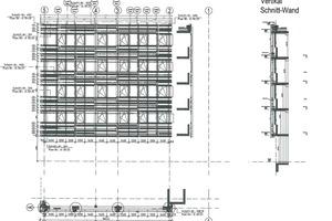 Planzeichnung: Ansicht Westfassade.<br />