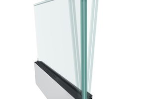"""<div class=""""bildtext"""">Mit den nicht sichtbaren Stellschrauben des Systems Balardo hybrid von Glassline können Scheiben +/- 15 mm bei einer Scheibenhöhe von 1.000 mm stufenlos fein justiert werden.</div>"""