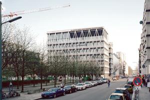 Beton, Glas und feuerverzinkter Stahl sind die dominierenden Materialien des Gebäudes.