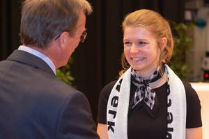 """<div class=""""bildtext"""">Jasmin Sauer bei der Preisverleihung des Bundesleistungswettbewerbs 2018 in Northeim.</div>"""