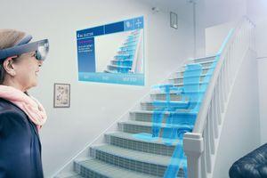 """<div class=""""bildtext"""">Auch das können erweiterte Realitäten: Dem Kunden zeigen, dass der geplante Lift in die Treppe passt? </div>"""