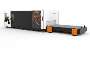 """<div class=""""bildtext"""">Die Laserschneidmaschine Optiplex Nexus 3015 Fiber 6.0 kW kombiniert mit einem Magazinsystem.</div>"""