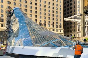 Dennis Rohrbacher war von März 2020 bis Januar 2021 mit der Montage des Portals an der 33rd Street in Manhattan beschäftigt.<br />