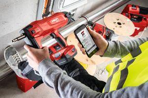 """<div class=""""bildtext"""">Hilti Connect ermöglicht einen schnellen, mobilen Zugriff auf Reparatur- und Serviceleistungen für Hilti-Geräte.</div>"""