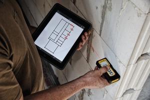 """<div class=""""bildtext"""">Stabila Measures überträgt kabellos Messwerte vom Laser-Distanzmessgerät auf das Mobilgerät – und direkt in Aufmaßskizzen, PDF-Baupläne oder Fotos.</div>"""