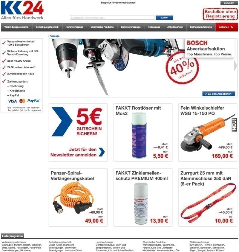d5f683c5c379fd Auf www.kk24.de können Handwerker online ohne Registrierung und  individuelle Einstufung direkt einkaufen