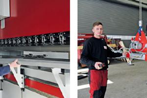 Sohn Guido und Vater Enrico Busse arbeiten gerne mit dem modernen Maschinenpark: hier an der hydraulischen Abkantpresse (l) und der neuen Kranbahn<br />