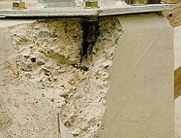 Folge eines zu geringen Randabstandes: Betonkantenbruch<br />
